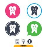Cara triste del diente con el icono de la muestra del rasgón Diente de dolor Imagen de archivo libre de regalías