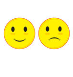 Cara triste y sonriente Foto de archivo libre de regalías