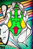 Cara verde dos grafittis Fotografia de Stock