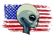 Cara verde extraterrestre extranjera con la bandera americana ilustración del vector