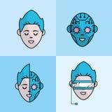 A cara virtual ajustada do menino com Cyberspace conecta ilustração do vetor
