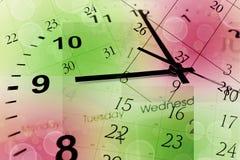Cara y calendario de reloj imagen de archivo