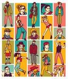 Cara y figuras determinadas de la gente de la moda stock de ilustración