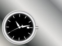 Cara y manos analogicas de reloj ilustración del vector