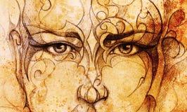 Cara y ornamento místicos del hombre Dibujo de lápiz en el papel viejo Imágenes de archivo libres de regalías