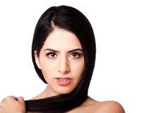 Cara y pelo de la belleza Imagen de archivo libre de regalías