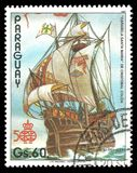 Carabela Santa Maria. Paraguay - circa 1987: Stamp printed by Portugal, Color edition on 500th anniversary of the discovery of America, shows Carabela Santa Royalty Free Stock Image