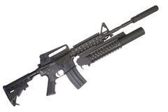 Carabina M4A1 con il silenziatore fornito di lanciagranate M203 Fotografia Stock Libera da Diritti