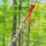 Carabine and knots on ropes Stock Photography
