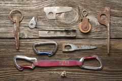 Carabine, pitons and other objects for climbing Stock Image
