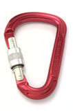 Carabiner. Red carabiner isolated on white Royalty Free Stock Photo