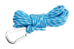 Carabiner attached to rope Royalty Free Stock Image