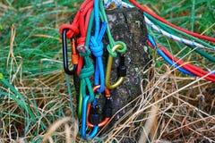 Carabiner avec la corde sur le fond de nature Photographie stock libre de droits