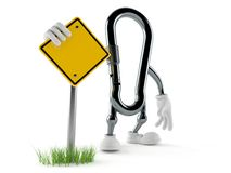 Carabiner character with blank road sign. Isolated on white background. 3d illustration royalty free illustration