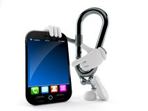 Carabiner character with smartphone. Isolated on white background. 3d illustration royalty free illustration