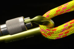 Carabiner and climbing rope 2 Stock Photos