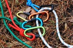 Carabiner con la corda sul fondo della natura Immagini Stock Libere da Diritti