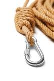 Carabiner del escalador Foto de archivo libre de regalías