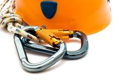 Carabiner e casco di alpinismo Fotografia Stock