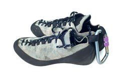 Carabiner en het beklimmen van schoenen Stock Foto
