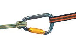 Carabiner et deux cordes Images libres de droits