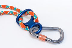 Carabiner and Figure eight. With climbing rope Stock Photography