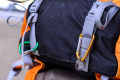 Carabiner hang with bag bottom Stock Photography