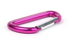 Carabiner keyring. A purple metalic carabiner keyring on white Royalty Free Stock Image