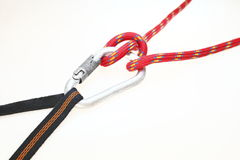 Carabiner with knot Royalty Free Stock Images