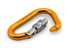 Carabiner mountaineering safety equipment. Carabinermountaineering safety equipment isolated on white Royalty Free Stock Photos