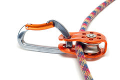 Carabiner with pulley on the rope Royalty Free Stock Photography