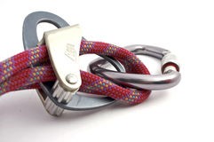 Carabiner, rope and belay devices. Sistem of carabiner, rope and belay devices Stock Photo