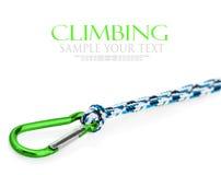 Carabiner and rope climbing equipment Stock Photos