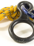 Carabiner and rope with DOF Stock Photography