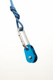 Carabiner, rope and pulley Stock Photo
