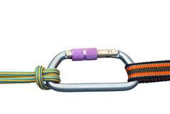 Carabiner and two ropes Royalty Free Stock Image