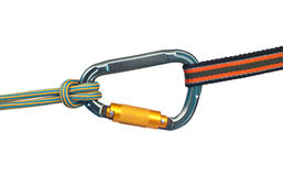 Carabiner and two ropes. Isolated climbing equipment - carabiner and two ropes royalty free stock images