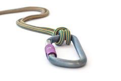 Carabiner y cuerda Foto de archivo libre de regalías