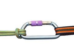 Carabiner y dos cuerdas Imagen de archivo libre de regalías