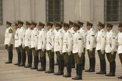 Carabineros的军事结合出席在La Moneda总统府前面的改变的卫兵仪式,圣地亚哥,智利 库存图片