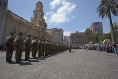 Carabineros parade in Plaza de Armas, Santiago Stock Photo