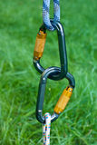 Carabiners on a green grass background Stock Images