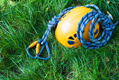 Carabiners, helmet and rope Stock Photos