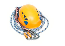 Carabiners, orange helmet and rope Stock Photo