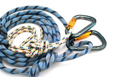 Carabiners without scratches and blue rope Royalty Free Stock Photos