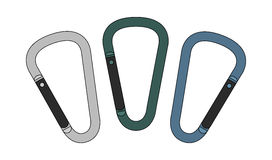 Carabiners set. Color Royalty Free Stock Photography