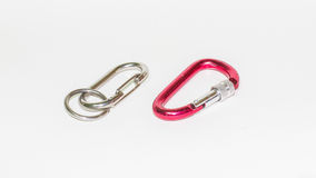 Carabiners. Two carabiners isolated on white background Royalty Free Stock Photography