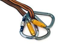 Carabiners y cuerda Foto de archivo