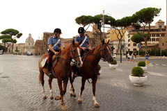Police on horseback in Rome - Italy Royalty Free Stock Photos