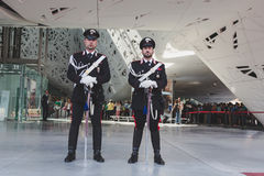 Carabinieri outside Italy pavilion at Expo 2015 in Milan, Italy Stock Image